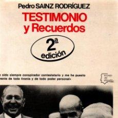 Libros de segunda mano: TESTIMONIO Y RECUERDOS. PEDRO SAINZ RODRÍGUEZ. EDITORIAL PLANETA,S. A. 1978. Lote 118047947