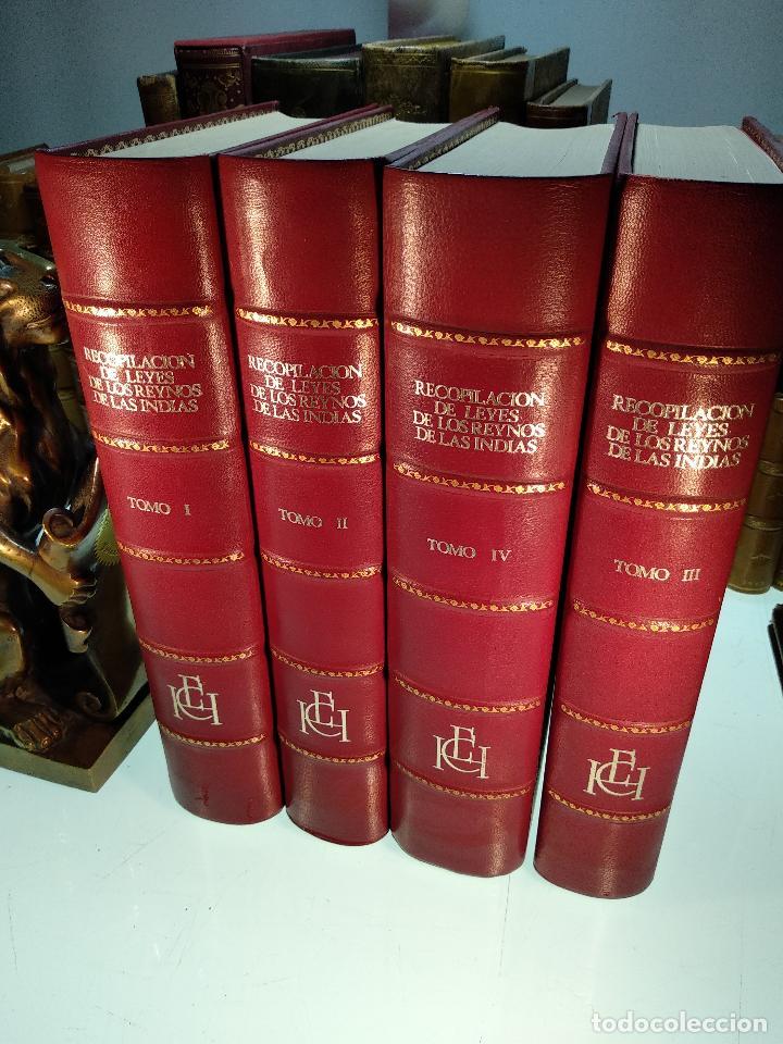 RECOPILACIÓN DE LEYES DE LOS REYNOS DE LAS INDIAS - 4 TOMOS - ENCUADERNACIÓN LUJO - MADRID - 1973 - (Libros de Segunda Mano - Historia Moderna)
