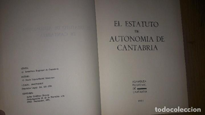 Libros de segunda mano: EL ESTATUTO DE AUTONOMÍA DE CANTABRIA... 1991.... - Foto 2 - 132912186