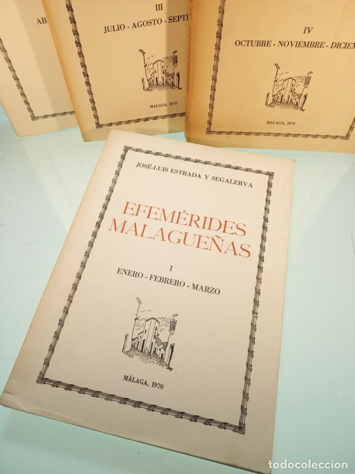 Libros de segunda mano: Efemérides Malagueñas. José Luis Estrada y Segalerva - 4 tomos. Málaga. 1970. Firmado y dedicado. - Foto 2 - 156005258