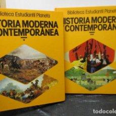 Libros de segunda mano: HISTORIA MODERNA Y CONTEMPORANE 2 TOMOS (COMPLETA) - BIBLIOTECA ESTUDIANTIL PLANETA. Lote 160210822