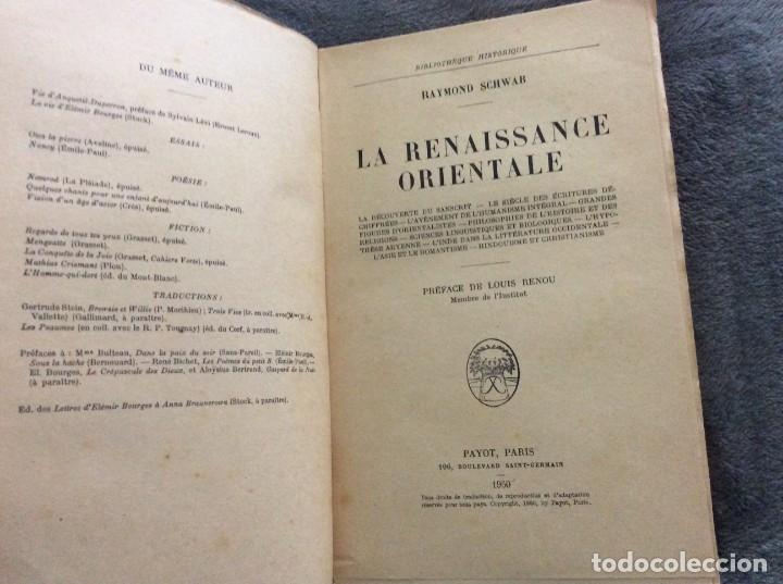 Libros de segunda mano: La renaissance orientale Raymond Schwab Edité par Payot (1950), 1.ª edición. Muy rara. - Foto 2 - 175866894