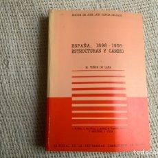 Libros de segunda mano: ESPAÑA, 1898 -1936 ESTRUCTURAS Y CAMBIO / . M.TUÑON DE LARA -ED. . JOSE LUIS GARCIA DELGADO. Lote 178789797