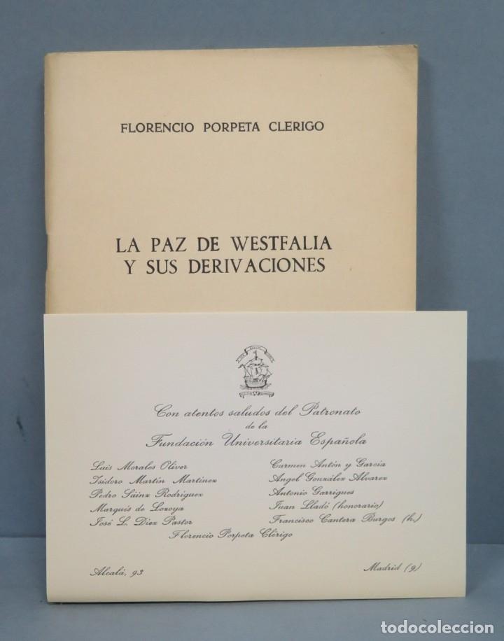 LA PAZ DE WESTFALIA Y SUS DERIVACIONES. FLORENCIO (Libros de Segunda Mano - Historia Moderna)