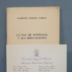 Libros de segunda mano: LA PAZ DE WESTFALIA Y SUS DERIVACIONES. FLORENCIO. Lote 180117506