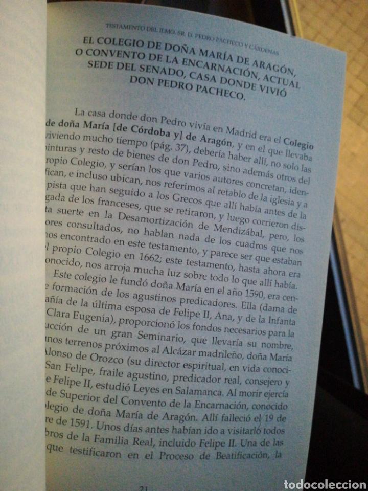 Libros de segunda mano: Testamento Don Pedro Pacheco y Cardenas por José Colino Martínez 2005 - Foto 3 - 194222977