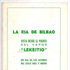 Libros de segunda mano: LA RIA DE BILBAO VISTA DESDE EL PUENTE DEL VAPOR LEKEITIO. CIRCA 1960. Lote 194384746