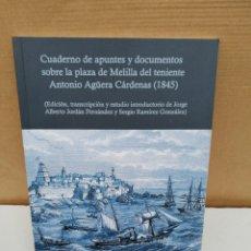 Libros de segunda mano: CUADERNO DE APUNTES Y DOCUMENTOS SOBRE LA PLAZA DE MELILLA EL TENIENTE ANTONIO AGÜERA CÁRDENAS. Lote 194876583