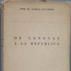 Libros de segunda mano: DE CÁNOVAS A LA REPUBLICA. JOSE Mª GARCIA ESCUDERO. Lote 194900777