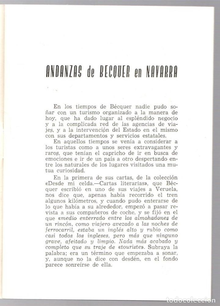Libros de segunda mano: ANDANZAS DE BECQUER EN NAVARRA. FAUSTINO CORELLA ESTELLA. PAMPLONA, 1960 - Foto 2 - 195368136