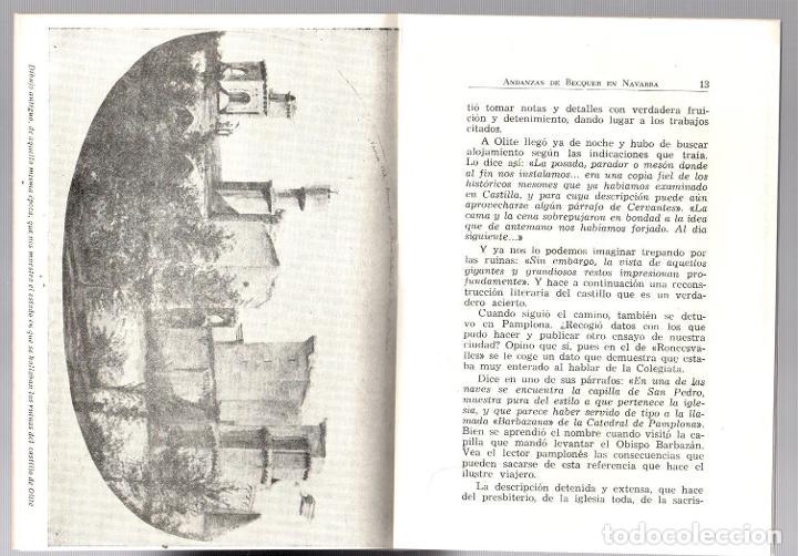 Libros de segunda mano: ANDANZAS DE BECQUER EN NAVARRA. FAUSTINO CORELLA ESTELLA. PAMPLONA, 1960 - Foto 3 - 195368136