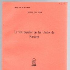 Libros de segunda mano: LA VOZ POPULAR EN LAS CORTES DE NAVARRA. MARIA PUY HUICI. 1961. Lote 195461576