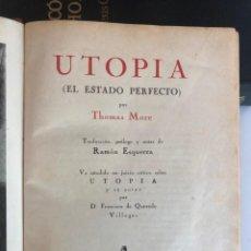 Libros de segunda mano: THOMAS MORE. UTOPIA. 1937. Lote 197076342