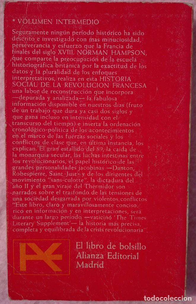 Libros de segunda mano: Historia Social de la Revolución Francesa – Norman Hampson (Alianza, 1970) /// NAPOLEÓN EUROPA - Foto 2 - 218102617