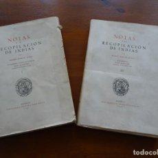 Libros de segunda mano: NOTAS A LA RECOPILACIÓN DE INDIAS, MANUEL JOSEF DE AYALA, TOMOS I Y II. Lote 222797712