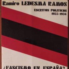 Livres d'occasion: FASCISMO EN ESPAÑA? LA PATRIA LIBRE NUESTRA REVOLUCIÓN. RAMIRO LEDESMA RAMOS. Lote 230854905