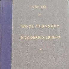 Libri di seconda mano: DICCIONARIO LANERO DE PABLO LINK. 1954 BUENOS AIRES.. Lote 239492490