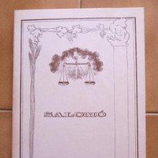 Libros de segunda mano: LIBRO SALOMO LLEGENDA I HISTORIA AL VOLTANT DEL SANT CRIST.- CM. Lote 270094608