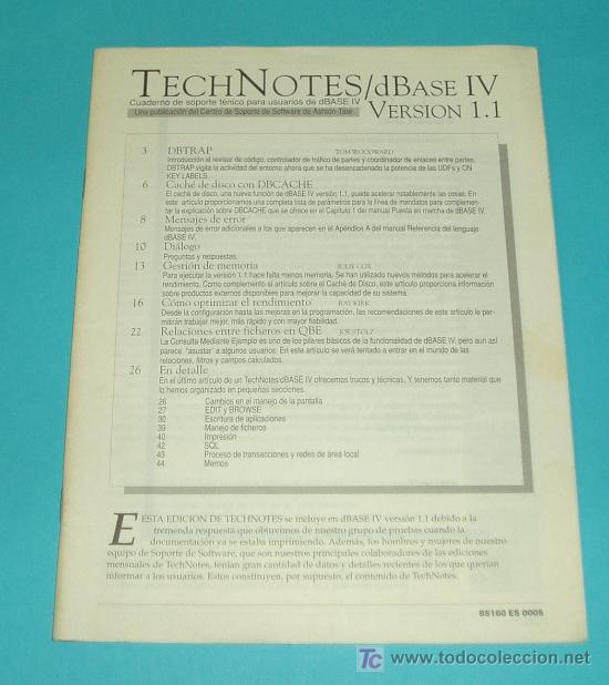 TECHNOTES DBASE IV VERSION 1.1. ASHTON TATE ( INFORMATICA ) (Libros de Segunda Mano - Informática)