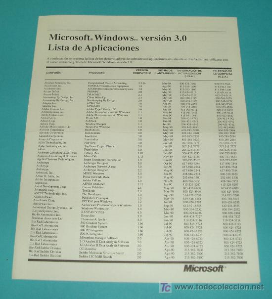 LISTA DE APLICACIONES COMPATIBLES CON MICROSOFT WINDOWS 3.0 ( INFORMATICA ) (Libros de Segunda Mano - Informática)