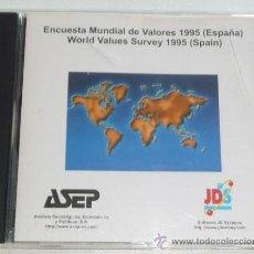 Libros de segunda mano: CD-ROM ENCUESTA MUNDIAL DE VALORES 1995 (ESPAÑA). DATOS PARA PROGRAMAS INFORMÁTICO SPSS (SOCIOLOGÍA). Lote 31305926
