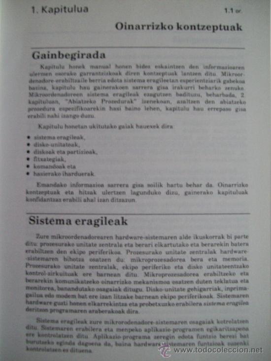 Libros de segunda mano: Informática: Manual en euskera de sistema operativo MS-DOS sistema eragilea (1986) Gráficas LIZARRA - Foto 14 - 33491722