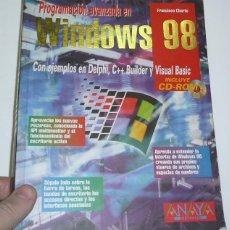 Libros de segunda mano: PROGRAMACIÓN AVANZADA CON WINDOWS 98 (CON CD-ROM) - FRANCISCO CHARTE (ED. ANAYA, 1999). Lote 41734654