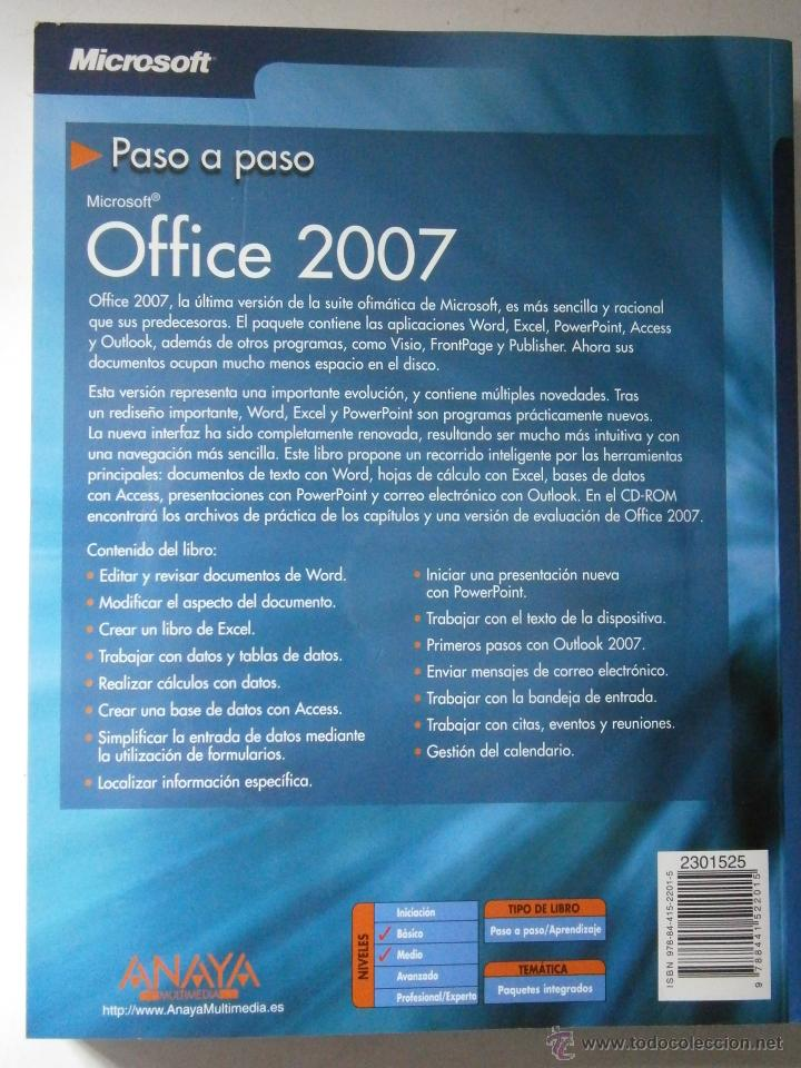 Libros de segunda mano: OFFICE 2007 ANAYA 2007 INCLUYE CD - Foto 3 - 43261156