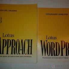 Libros de segunda mano: LOTUS APPROACH VERSIÓN 3 1994 Y LOTUS WORD PRO 96 1995 EDITA LOTUS. Lote 48457423