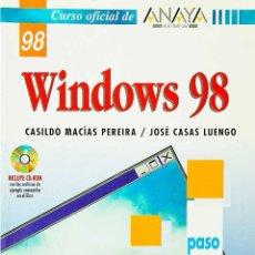Libros de segunda mano: WINDOWS 98 - CURSO OFICIAL DE ANAYA MULTIMEDIA - PEREIRA / LUENGO. Lote 49106392