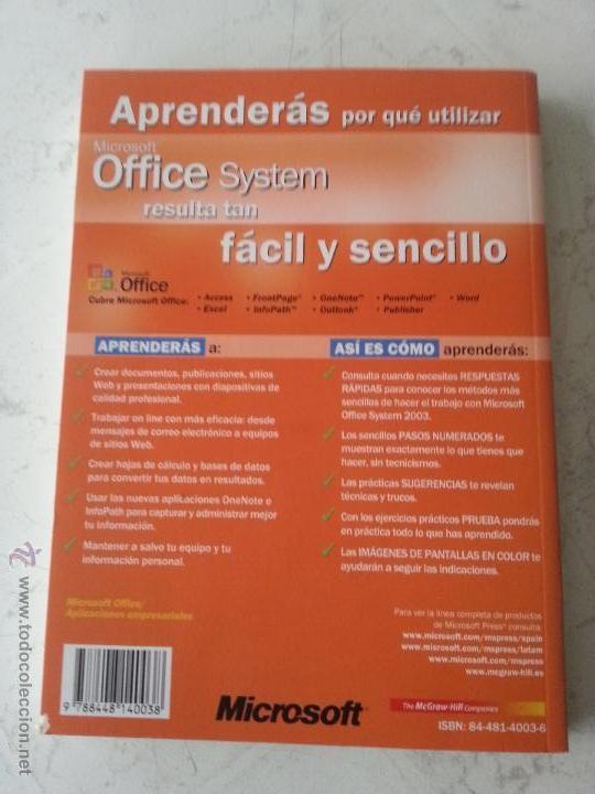 Libros de segunda mano: MICROSOFT OFFICE SYSTEM - VISUAL - EDICION 2003 - REFERENCIA RAPIDA VISUAL - Foto 2 - 54251180