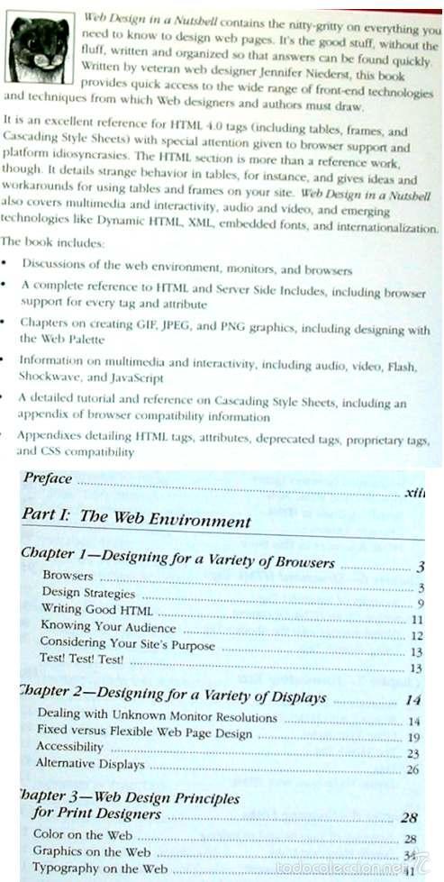 Libros de segunda mano: WEB DESIGN IN A NUTSHELL - A DESKTOP QUICK REFERENCE - JENNIFER NIEDERST - OREILLY 1999 VER INDICE - Foto 2 - 60938195
