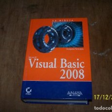 Livres d'occasion: LOTE UN LIBRO LA BIBLIA VISUAL BASIC 2008. EDITORIAL ANAYA MULTIMEDIA. Lote 69694853