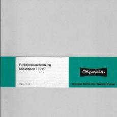 Libros de segunda mano: MANUAL DE MANTENIMIENTO DE COPIADORA OLYMPIA MODELO ES 10 AÑO 1995. Lote 75430895