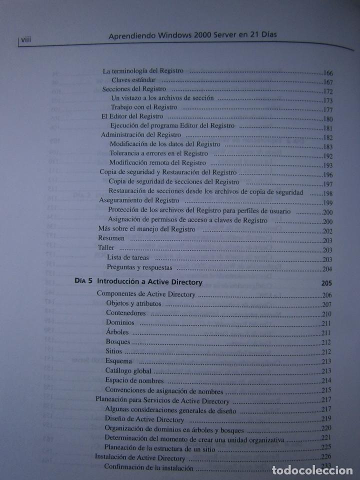 Libros de segunda mano: APRENDIENDO MICROSOFT WINDOWS 2000 SERVER EN 21 DIAS Peter Davis Barry Lewis Pearson 1 edicion 2001 - Foto 10 - 81188044