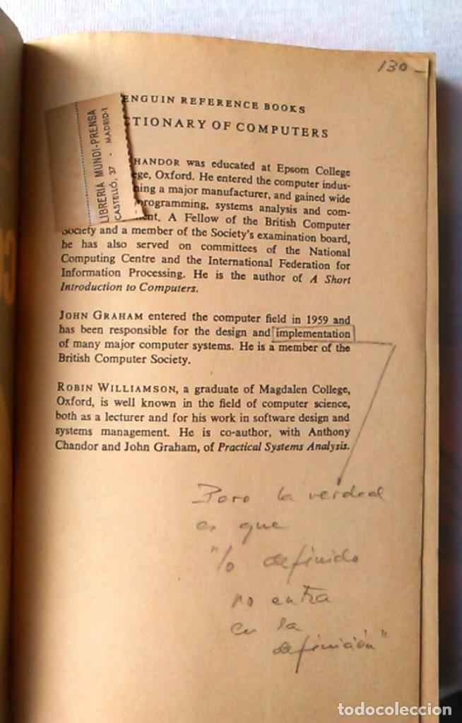 Libros de segunda mano: A dictionary of computers. Anthony Chandor. Penguin Reference Books. 1971. ISBN 0140510397. - Foto 3 - 94490686