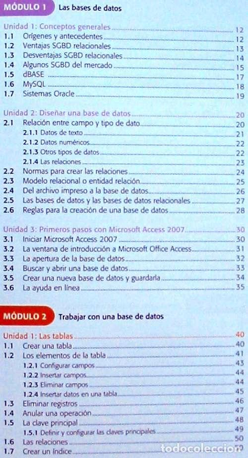 Libros de segunda mano: BASES DE DATOS - OFFICE ACCESS 2007 - LIBRO + DVD + 2 CD ROM 2008 - VER INDICE - Foto 4 - 97225103
