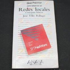 Libros de segunda mano: LIBRO DE INFORMATICA, REDES LOCALES CONCEPTOS BASICOS, ANAYA MULTIMEDIA 1989 187 PAG, SFT NETWARE. Lote 98429259