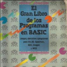 Libros de segunda mano: EL GRAN LIBRO DE LOS PROGRAMAS EN BASIC (VIC 20 - SPECTRUM - BBC - DRAGON - MSX) ANAYA. Lote 99177731