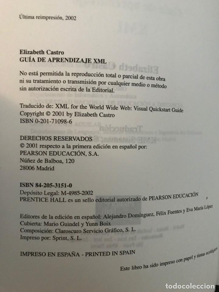Libros de segunda mano: Guía de aprendizaje XML. Elizabeth Castro. Ed. Pearson Educación, 2002 - Foto 3 - 114127095