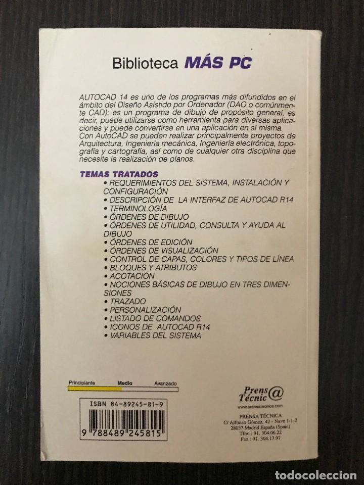 Libros de segunda mano: Manual Técnico de Autocad 14. Prensa Técnica. Más PC Biblioteca - Foto 2 - 114982275