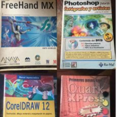Libros de segunda mano: LIBROS PHOTOSHOP CD FREEHAND CD CORELDRAWN Y QUARKXPRESS. Lote 115362531