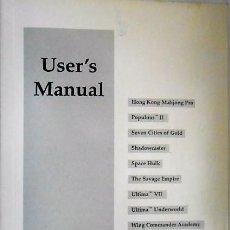Libros de segunda mano: USER'S MANUAL. CREATIVE LABS. MANUAL USUARIO VARIOS JUEGOS. INGLES.. Lote 126779827