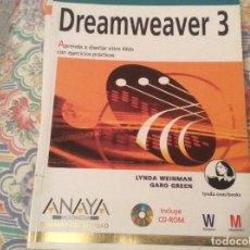 Libros de segunda mano: DREAMWEAVER 3 APRENDA A DISEÑAR SITIOS WEB CON EJERCICIOS PRACTICOS ANAYA SIN CD. Lote 148078262