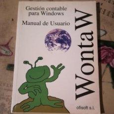 Libros de segunda mano: WONTA W. GESTIÓN CONTABLE PARA WINDOWS. MANUAL DE USUARIO - J.M. OFISOFT, S.L. - 1994. Lote 149567398