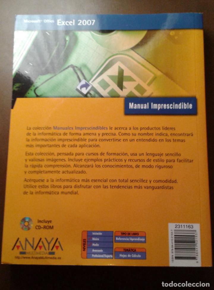 Libros de segunda mano: MANUAL IMPRESCINDIBLE. MICROSOFT OFFICE EXCEL 2007. ANAYA MULTIMEDIA. CLAUDIA VALDÉS-MIRANDA. - Foto 3 - 153263314