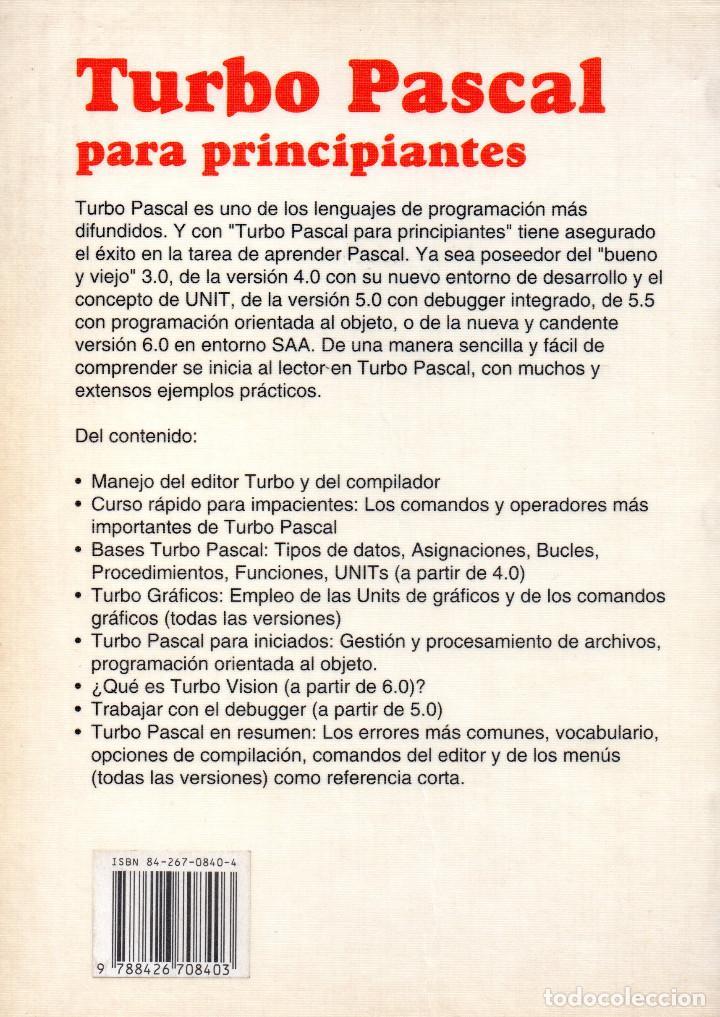 Libros de segunda mano: Turbo Pascal para Principiantes - Foto 2 - 155834478