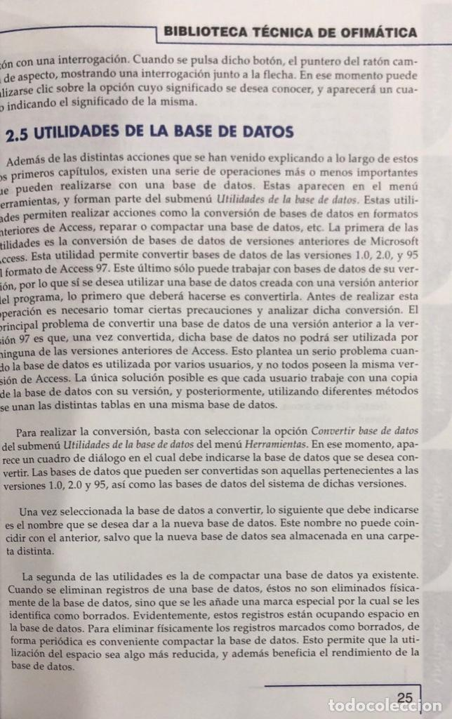 Libros de segunda mano: MICROSOFT ACCESS 97/98 SIN CD ROOM. PAGS 182. ESPAÑA 1998. - Foto 2 - 158224746