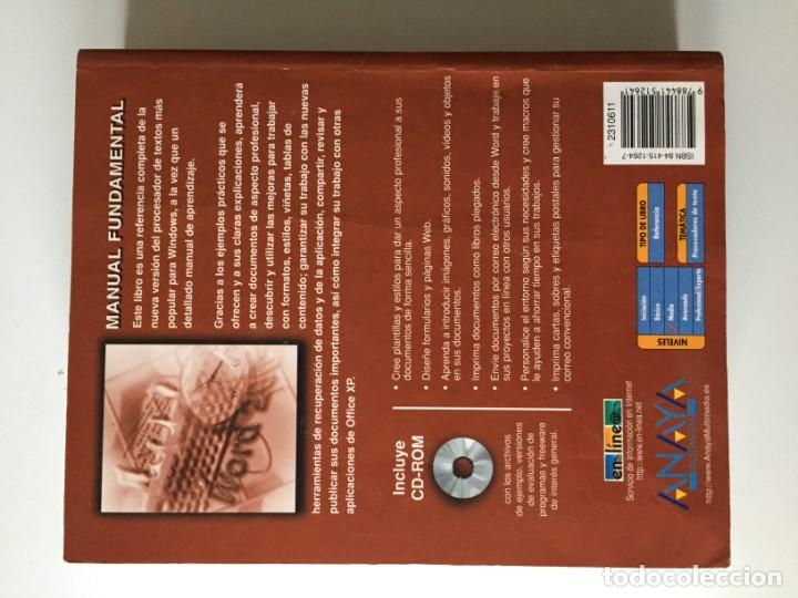 Libros de segunda mano: JUAN VICENTE GUTIÉRREZ - MICROSOFT WORD 2002 OFFICE XP - ANAYA - Foto 2 - 171765090