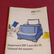Libros de segunda mano: MANUAL DE USUARIO IMPRESORA HP LASERJET 5L 1995. Lote 179137516